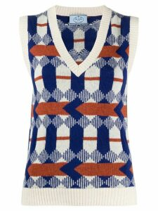 Prada Arrow jacquard motif knitted top - Blue