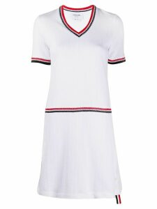 Thom Browne v-neck knitted dress - White