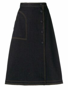 Moncler A-line denim skirt - Blue