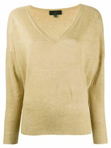 Nili Lotan fine knit V-neck jumper - NEUTRALS