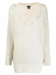 Avant Toi v-neck linen jumper - NEUTRALS