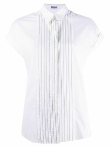 Brunello Cucinelli brass-embellished pointed-collar shirt - White