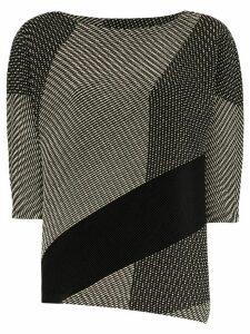 Issey Miyake printed crew neck jersey top - Black