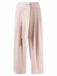 P.A.R.O.S.H. tie waist cropped culotte trousers - NEUTRALS