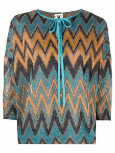 M Missoni knitted zigzag top - Blue