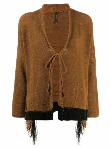 Pierantoniogaspari front-tied fitted cardigan - Brown