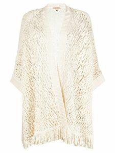 Twin-Set longline crochet knit cardigan - NEUTRALS