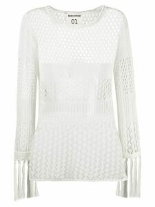 Semicouture crochet knit top - NEUTRALS