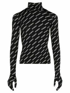 Vetements logo morph turtleneck top - Black