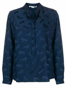 Stella McCartney horses-jacquard button-placket blouse - Blue