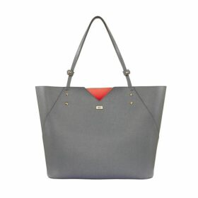 Stacy Chan London Veronica Tote In Grey Saffiano Leather