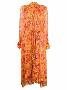 Zimmermann abstract print silk dress - ORANGE
