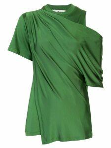 Monse draped cold-shoulder satin blouse - Green
