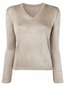 Des Prés metallized V-neck jumper - Brown