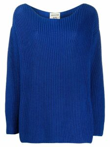 Semicouture dropped-shoulder purl-knit sweater - Blue