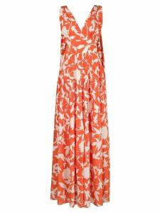 Oscar de la Renta floral-print evening dress - ORANGE