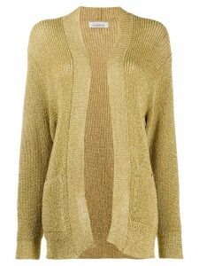 Laneus metallized open-front cardigan - GOLD