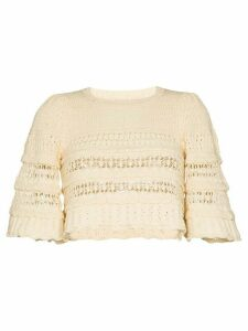 Isabel Marant cropped ruffled crochet-knit jumper - NEUTRALS