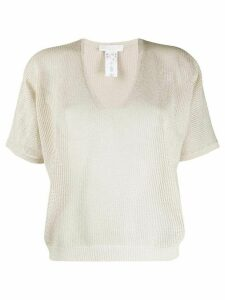 Fabiana Filippi knitted V-neck T-shirt - NEUTRALS