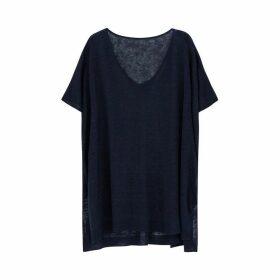 Ille De Cocos Linen Oversized Sweater - Navy