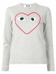 Comme Des Garçons Play logo-print crew neck top - Grey