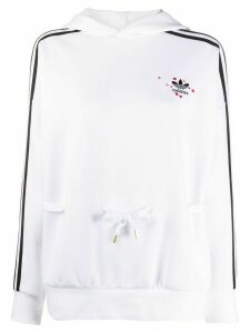 adidas hearts embroidered hoodie - White