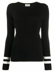 Moncler contrast-stripe rib-knit top - Black