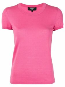 Paule Ka knitted round-neck T-shirt - PINK