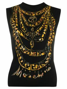 Moschino chain print tank top - Black