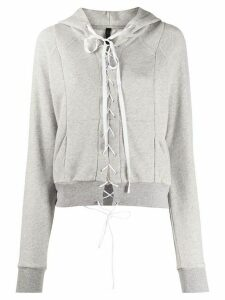 UNRAVEL PROJECT lace fastened hoodie - Grey