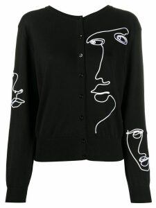 Moschino V-back embroidered cardigan - Black