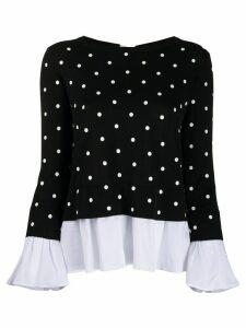 Semicouture layered-effect polka dot jumper - Black