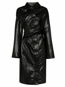 Y/Project leather effect twisted trench coat - Black