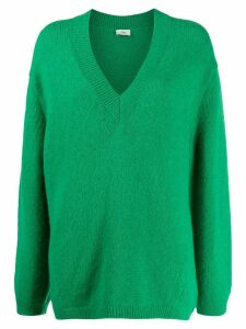 Closed oversized V-neck jumper - Green