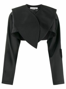 LANVIN oversized collar cropped jacket - Black