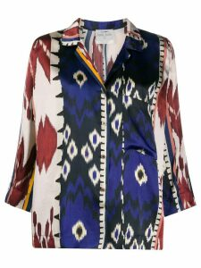 Forte Forte abstract-pattern silk shirt - Blue