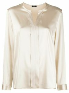 Peserico brass-embellished split-neck blouse - NEUTRALS