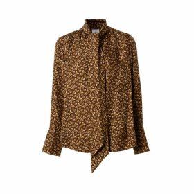 Burberry Monogram Print Silk Tie-neck Shirt