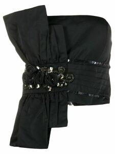Mm6 Maison Margiela asymmetric embellished strapless top - Black