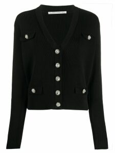 Alessandra Rich jewelled button cardigan - Black