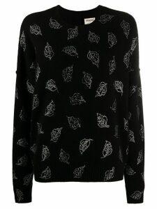 Zadig & Voltaire cashmere knit embellished leaf jumper - Black