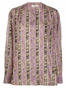 Isabel Marant Étoile floral striped long-sleeve blouse - PURPLE