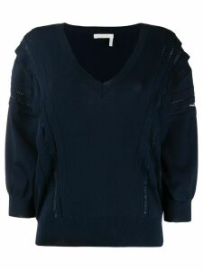 Chloé floral lace panelled jumper - Blue