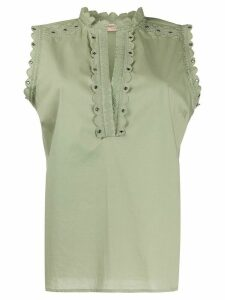 Twin-Set broderie-trimmed poplin shirt - Green