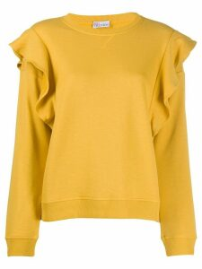 RedValentino ruffle-detail crew-neck sweatshirt - Yellow