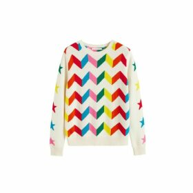 Chinti & Parker Cream Chevron Wool-cashmere Sweater