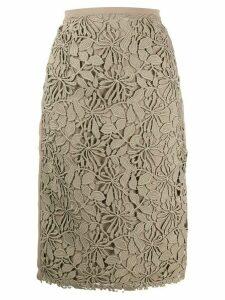 Nº21 floral lace pencil skirt - NEUTRALS