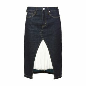 Evisu Reworked Denim Skirt With Pleated Layer