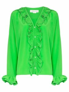 Victoria Beckham ruffled pearl-embellished silk blouse - Green