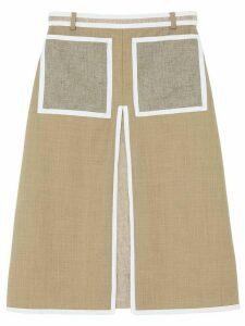 Burberry contrast seam A-line skirt - Brown